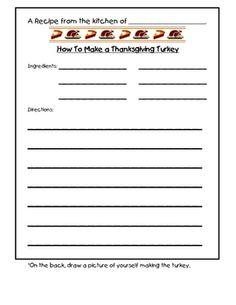 Thanksgiving Turkey Recipe Writing Prompt