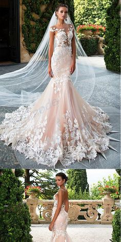 Charming Tulle Pink Off-shoulder Mermaid Wedding Dresses With Lace Appliques,WDY. - Charming Tulle Pink Off-shoulder Mermaid Wedding Dresses With Lace dress# Source by elmiraheydarihd - Wedding Dress Black, Pink Wedding Dresses, Bridal Dresses, Wedding Gowns, Tulle Wedding, Wedding Ceremony, Dresses Dresses, Vera Wang Wedding Dress Lace, Ceremony Dresses