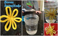 How to make a Borax Crystal Ornament. Great crafts for boys or a great home school science experiment on how to grow crystals. Homemade Christmas Ornament.