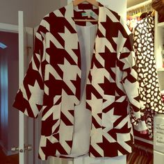 Houndstooth topper Black and white topper, no closure.  Never worn. Endless Rose Jackets & Coats