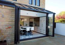 56 Ideas house glass extension modern conservatory for 2019 Kitchen Diner Extension, House Design, House, Glass Extension, Bifold Doors, Modern Patio, Modern Kitchen Extensions, Modern Patio Doors, Patio Flooring