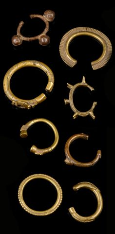 West Africa   Collection of 8 bracelets   Brass   Including pieces made by the Gurunsi of Burkina Faso, the Senufo of the Ivory Coast   Est. 200 - 400€ for the lot ~ (Mar '14)