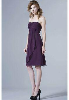 A line Chiffon Sweetheart With Sash/ Ribbon Sleeveless Tea Length Bridesmaid Dress