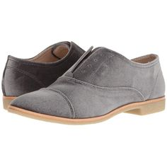 Dolce Vita Cooper (Charcoal Velvet) Women's Shoes ($85) ❤ liked on Polyvore featuring shoes, synthetic shoes, lace up oxfords, almond toe shoes, dolce vita oxfords and dolce vita