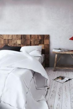 homemade wood headboards making a wood headboard ideas and secrets for making wooden headboards look expensive wooden blocks making Reclaimed Wood Headboard, Wooden Headboards, Daybed With Trundle Bed, Comfortable Dining Chairs, New Beds, Wooden Diy, Home Decor Bedroom, Interior Design Living Room, Furniture