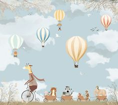 Woodland animal with coloful balloons wall paper mural baby bedroom decor wallpaper Peel and Stick Mr giraffe safari nursery decor removable Baby Bedroom, Baby Room Decor, Nursery Decor, Bedroom Decor, Kids Room Wallpaper, Wall Wallpaper, Balloon Wall, Balloons, Balloon Garland