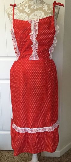 Vtg Prairie Maxi Dress Elastic Smocking Red Heart White Lace Tier 3xl Boho Plus #NoBrand #Maxi #Casual