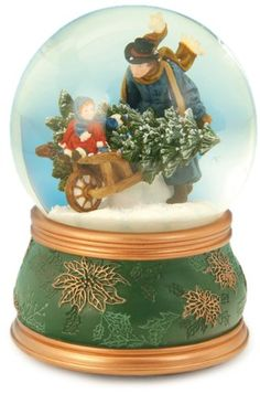 "MusicBox Kingdom 51035 Snow Globe Wheel Barrow Music Box Playing ""O Christmas…"