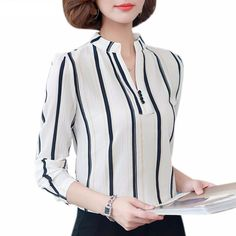 Plus Size Female Tops 2019 Spring Long Sleeve Women Office Blouse Autumn Ladies Cheap Long Sleeve Shirts, Long Sleeve Tops, Blouse Styles, Printed Blouse, Shirt Blouses, Blouses For Women, Clothes, Ladies Tops, Casual Tops For Women