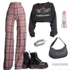 Baddie Outfits Casual, Indie Outfits, Teen Fashion Outfits, Retro Outfits, Girly Outfits, Cute Casual Outfits, Outfits For Teens, Stylish Outfits, Tomboy Fashion