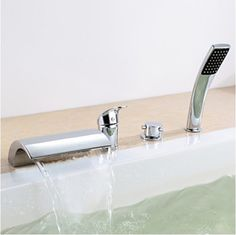 84.70$  Watch now - http://ali00a.worldwells.pw/go.php?t=1331698188 - Chrome Finish Widespread Waterfall Tub Faucet Dual Handle Mixer Tap Hand Shower