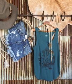 The Brimley tank you get me! Favorite rich teal color and cacti graphics.  #justright #summerstyle #cactusclub #savannah7s #style