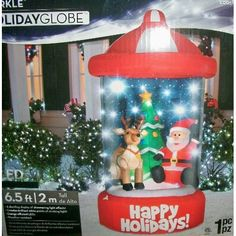 Reindeer Happy Holidays Lightshow Christmas Inflatable: Home