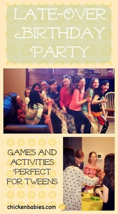 Late-Over Birthday Party for Tweens - fun activities! Including a Lap sitting get to know you game.