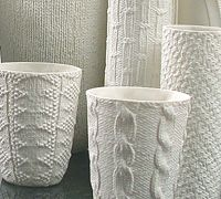 Annette Bugansky ceramics Looks like she used knitted sweater material. Could probably impress clay with material and fire to make a bisque stamp Ceramic Cups, Ceramic Pottery, Pottery Art, Ceramic Art, Verre Design, Paperclay, Clay Art, White Ceramics, Decoration