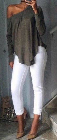 Khaki off the shoulder top with white jeans.