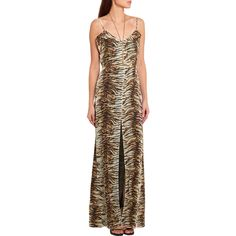 Saint Laurent Tiger-print silk-georgette gown ($1,370) ❤ liked on Polyvore featuring dresses, gowns, silk georgette dress, brown evening gowns, tiger print dress, yves saint laurent gowns and brown dress