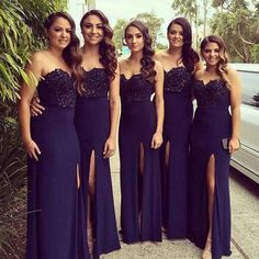 Long Bridesmaid Dresses 2016 Sexy Strapless Mermaid Side Slit Split Lace Appliques Black Formal Evening Wedding Party Gowns Custom Made Long Lace Bridesmaid Dresses Long Purple Bridesmaid Dresses From Aprildress01, $112.57| Dhgate.Com