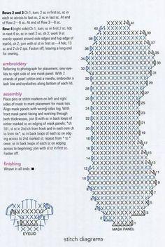Pattern for eye cover crochet diagram mask Crochet Diy, Crochet Sole, Crochet Eyes, Crochet Slipper Pattern, Crochet Mask, Crochet Slippers, Love Crochet, Crochet Crafts, Crochet Stitches