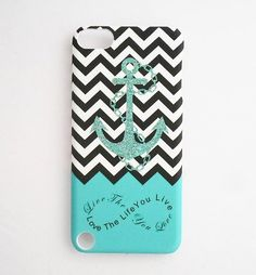 SunshineCase(TM) Anchor Live the Life You Love Infinity Quote - Aqua Black White Chevron with Anchor Design Snap on Case Back Cover for iPod Touch 5 5th Generation + Screen Protector SunshineCase