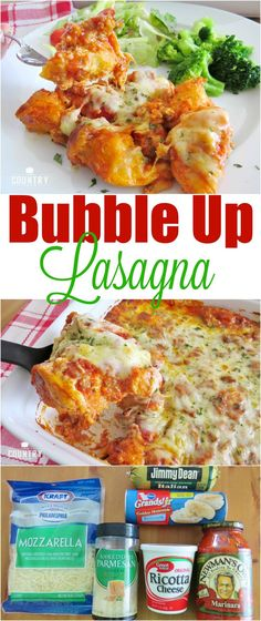 Bubble Up Lasagna recipe from The Country Cook. Biscuits, sauce, sausage and gooey cheese make this an easy and yummy 30 minute meal!