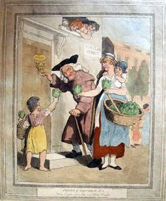 """""""Water Cresses, come buy my Water Cresses"""" from """"Cries of London"""" by Thomas Rowlandson, 1799."""