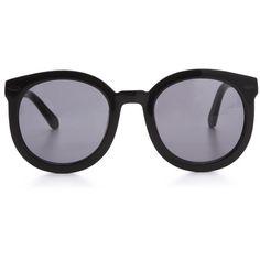 Karen Walker Super Duper Strength Sunglasses ($285) ❤ liked on Polyvore featuring accessories, eyewear, sunglasses, glasses, karen walker, óculos, karen walker eyewear, oversized round sunglasses, round frame glasses and karen walker sunnies