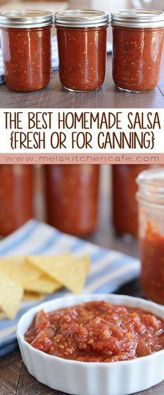 Tomato Recipes The Best Homemade Salsa {Fresh or For Canning} - Get the step-by-step canning guide to make the best homemade salsa on the planet! With perfectly balanced flavors, this salsa is truly a winner. Canning Salsa, Tomato Canning Recipes, Canning Tips, Canning Tomatoes, Fresh Tomato Salsa Recipe For Canning, Salsa Recipe For Freezing, Homemade Salsa For Canning, Fresh Salsa Homemade, Canned Tomato Salsa