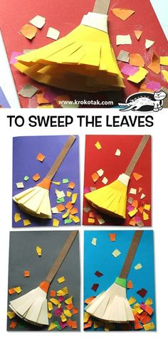 Adorable fall craft for kids! Sweep the leaves with this kid's craft. Kids Crafts, Fall Crafts For Toddlers, Leaf Crafts, Toddler Crafts, Preschool Crafts, Diy For Kids, Autumn Art Ideas For Kids, Autumn Crafts Kids, Autumn Activities For Kids