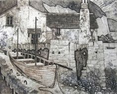 Collagraph Print, Hallsands XI by Mike Glanville