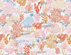 Coral Reef Seamless Pattern Graphics Modern pink, red and blue coral seamless repeating pattern design by Shelby Allison. Great for craft by origamiprints Graphic Patterns, Print Patterns, Pattern Print, Design Patterns, Arte Coral, Coral Pattern, Coral Blue, Bright Yellow, Motif Floral
