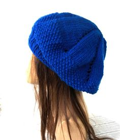 Womens hat Hand Knit Hat   beret in  Cobalt Blue  Slouchy by Ebruk, $30.00