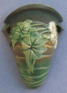 Vintage Roseville Pottery Green Luffa Wallpocket Wall Vase | eBay