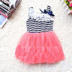 Pink tutu skirt style white black stripe dress Birthday flower girl girls christmas wedding dress for 2, 3, 4, 5 years old