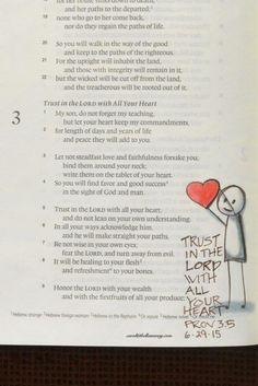 Proverbs 3:5, June 29, 2015 carol@belleauway.com, colored pencil, bible art journaling, journaling bible, illustrated faith