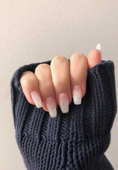 Glittery ombre nails nageldesign Over 50 Bright Summer Nail Art Designs That Will Be So Trendy All Season Coffin Nails Ombre, White Acrylic Nails, White Nail Art, Best Acrylic Nails, Acrylic Nail Designs, White Nails, Nail Art Designs, Gel Nails, Nails Design