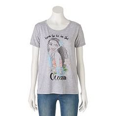 """Disney's Juniors' Moana """"Born To Be In The Ocean"""" Graphic Tee"""