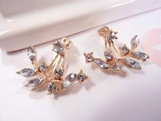 Umwerfend vintage bronze kristall blume blatt ohrringe
