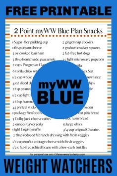 Grab a free printable of 2 point snack ideas for WW blue plan. This list will help you snack smart on the myWW blue program so you stay on track. Weight Watchers Snacks, Weight Watchers Tipps, Weight Watchers Points List, Weight Watcher Shopping List, Weight Watchers Online, Weight Watchers Program, Weight Watchers Meal Plans, Weigh Watchers, Weight Watchers Recipes With Smartpoints