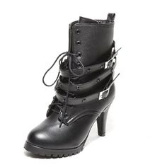 WeenFashion Women's Import PU Short Plush High Chunky Heels Solid Lace-up Ankle Boots with Metal Buckles -- Details can be found by clicking on the image.