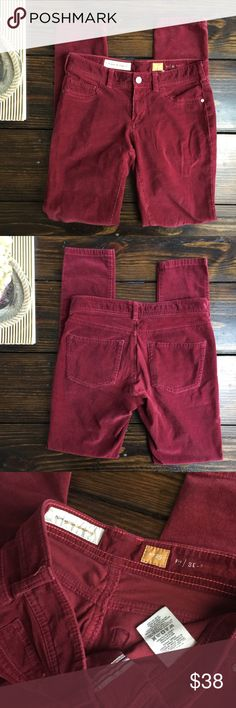 "Pilcro rust / maroon skinny cords In excellent condition skinny cords. MEASUREMENTS Waist: 13"" Hips: 17"" Leg Opening: 5""  Rise: 7.5"" Inseam: 29"" Anthropologie Pants Skinny"