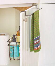 Over-Cabinet-Door Towel Bar with Basket