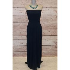 50 Off Was 24.99 Now 12.49 Navy Strapless Maxi Dress   to Usa Only... ($12) ❤ liked on Polyvore featuring dresses, black, women's clothing, women dresses, black strapless dress, navy dress, navy summer dress and black dress
