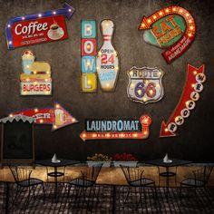 Barato 24 estilo Retro LED Sinal do metal pintura decorativa Bar Café casa decoração da parede iluminado tabuleta Sinalização pendurado sinais de Néon, Compro Qualidade Placas & Sinais diretamente de fornecedores da China:  24 Estilos de metal LEVOU sinais para você escolher.  também existem outros estilos mais Levou sinais de metal para voc