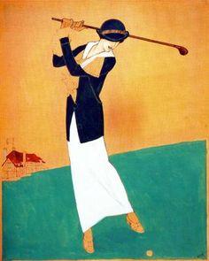 "Xavier Gosé Rovira (1876-1915). ""Jugant al golf"". Témpera sobre cartón. 38 x 31 cm."