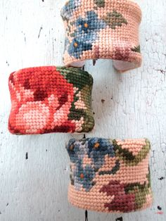 Needlepoint+Cuff+Bracelet++Repurposed+Vintage+by+lesliejanson,+$40.00