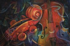 Music Painting - Dynamic Duo - Cello And Scroll by Susanne Clark