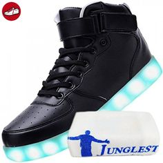 (Present:kleines Handtuch)Schwarz 37 EU Rollbrett für 7 mode LED Aufladen mit Herren Farbe Schuhe Sport High-Top USB Leuchtend Damen Tanzen Party Velcro Sneakers 57u6cN