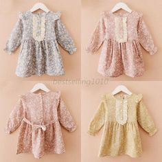 Vintage Toddler Baby Girls Kids Floral Dress Long Sleeved Lace Button Down Skirt #Unbranded #DressyEverydayHoliday