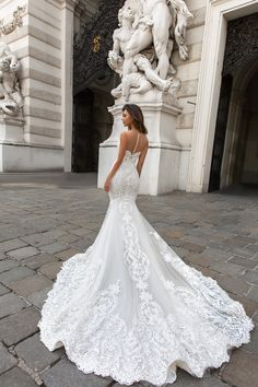 Wedding Dresses crystal design 2018 sleeveless strapless deep plunging sweetheart neckline full embellishment elegant mermaid wedding dress sheer button back chapel train (gia) bv - View the gorgeous gowns from three stunning collections! Sheer Wedding Dress, Best Wedding Dresses, Designer Wedding Dresses, Bridal Dresses, Wedding Gowns, Wedding Ceremony, Wedding Dress Websites, Wedding Dress Buttons, Wedding Dress Pictures
